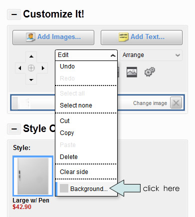 Customize Background Color in Zazzle Product