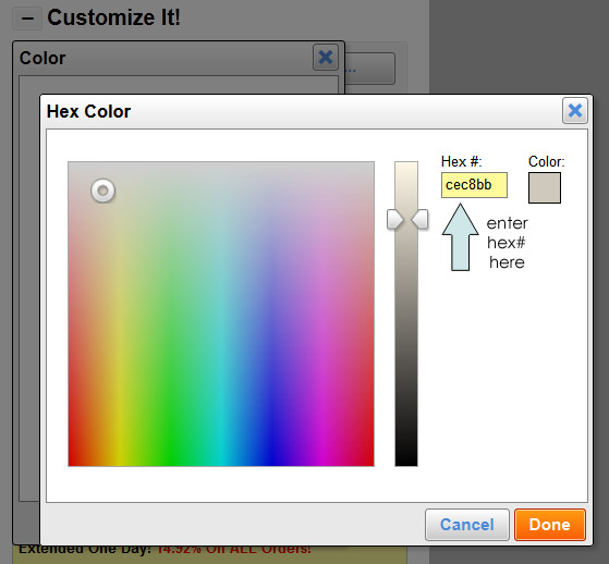 Add a Hexidecimal Number for Background Color