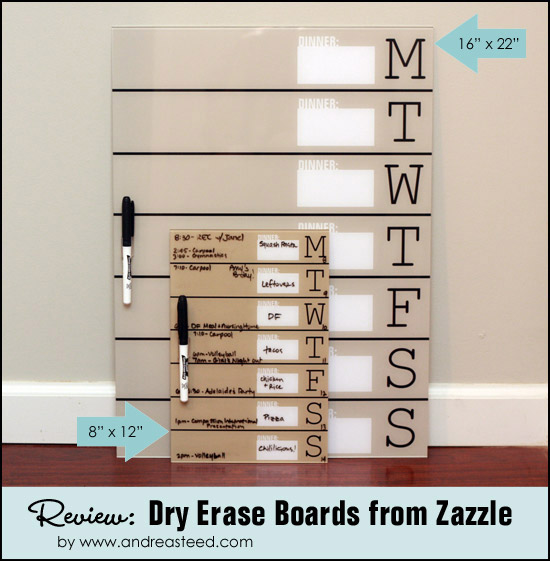 Weekly Schedule / Dinner Menu Dry Erase Boards from Zazzle