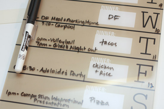 Weekly Menu & Schedule Dry Erase Board