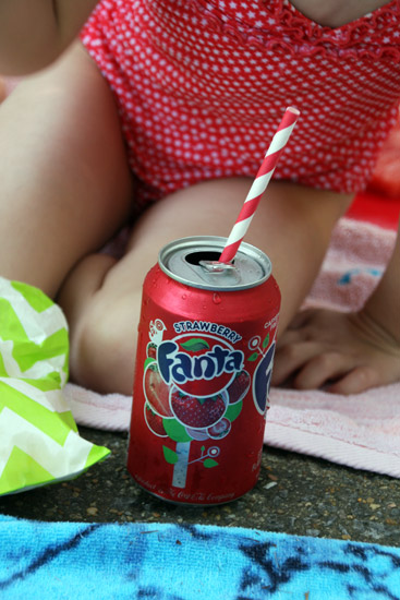Strawberry Shortcake Birthday Fanta with Paper Straws