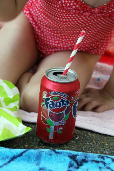 Strawberry Shortcake Birthday Fanta with Paper Straws