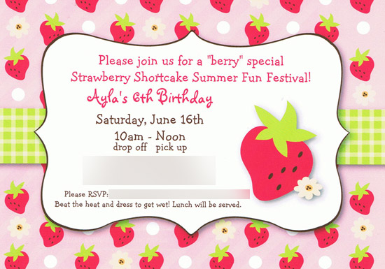 Strawberry Shortcake Party Invitation