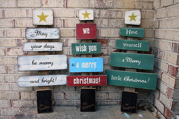 Christmas Wishes Scrap Wood Tree