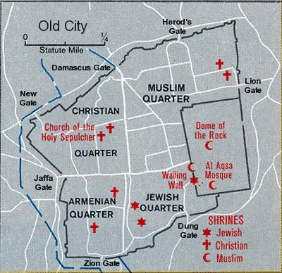 Map of Jerusalem Old City