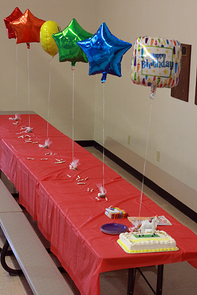 Rainbow Birthday Balloons Centerpiece