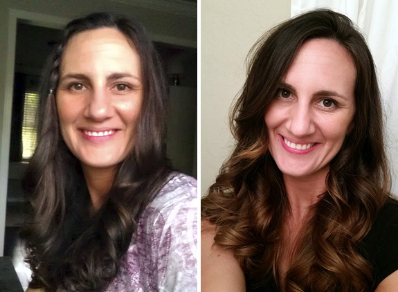 Before & After Ombre Hair - Long Dark Hair