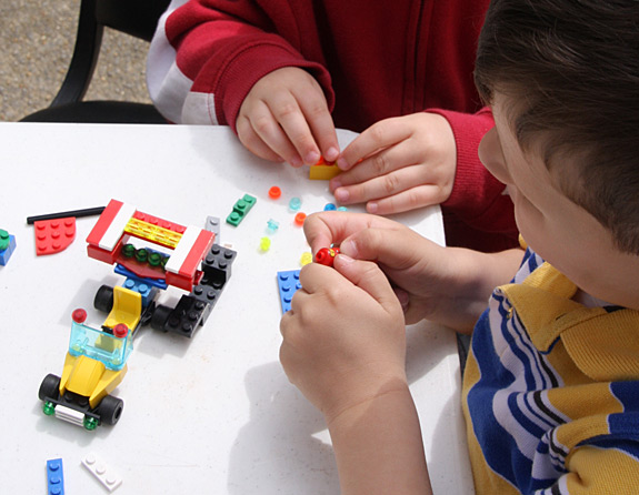 Building Lego Race Cars with Birthday Party Kits