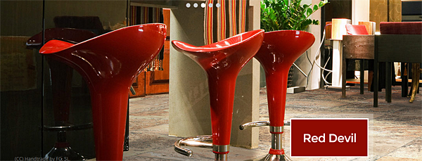 "SWATCHED - ""Red Devil"" Modern Kitchen Stools"