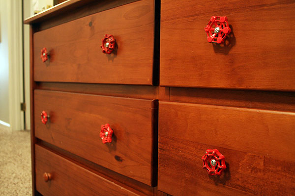 Red Vintage Water Valve Drawer Pulls