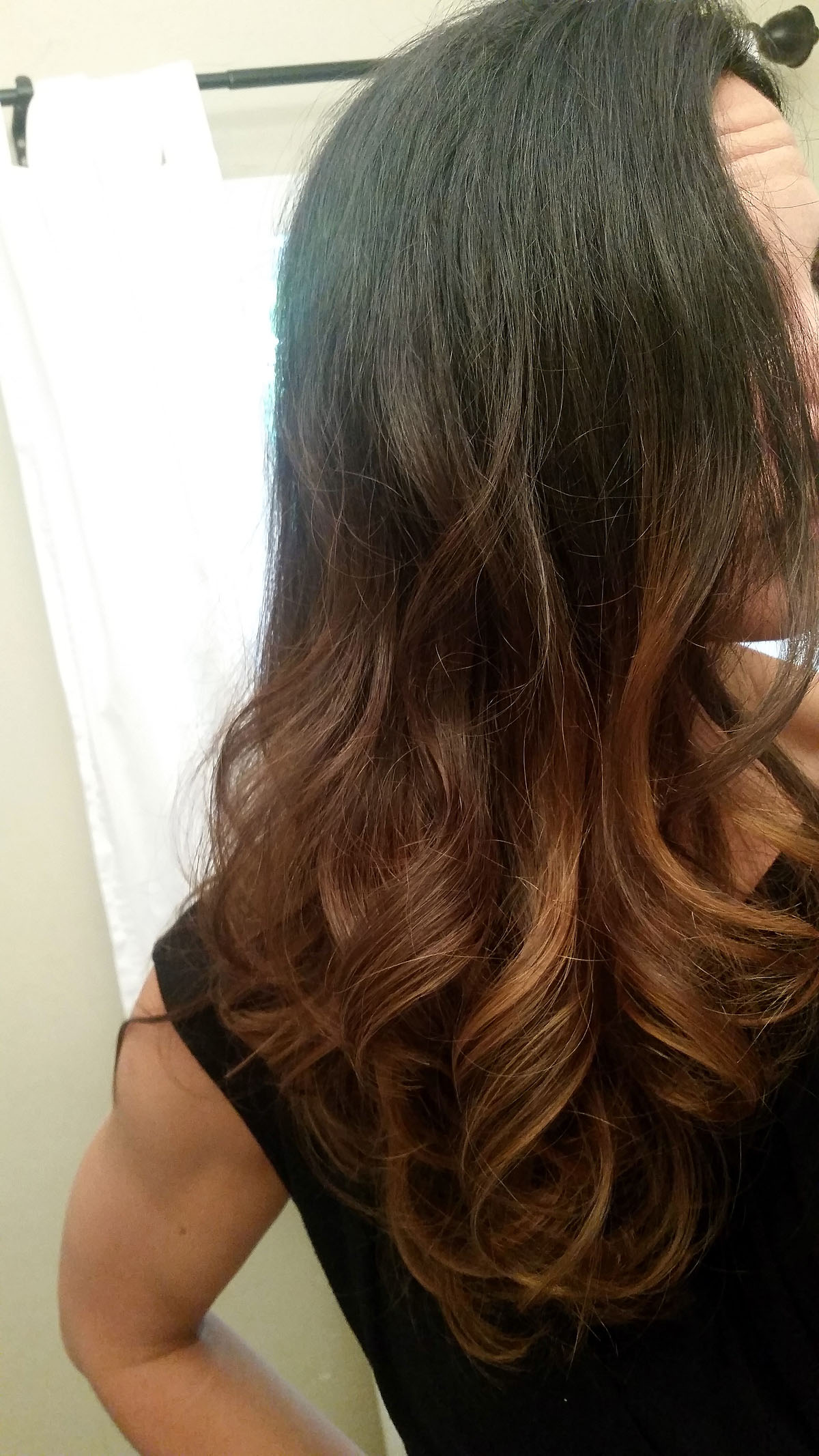 Long Ombre Hair - Black to Caramel