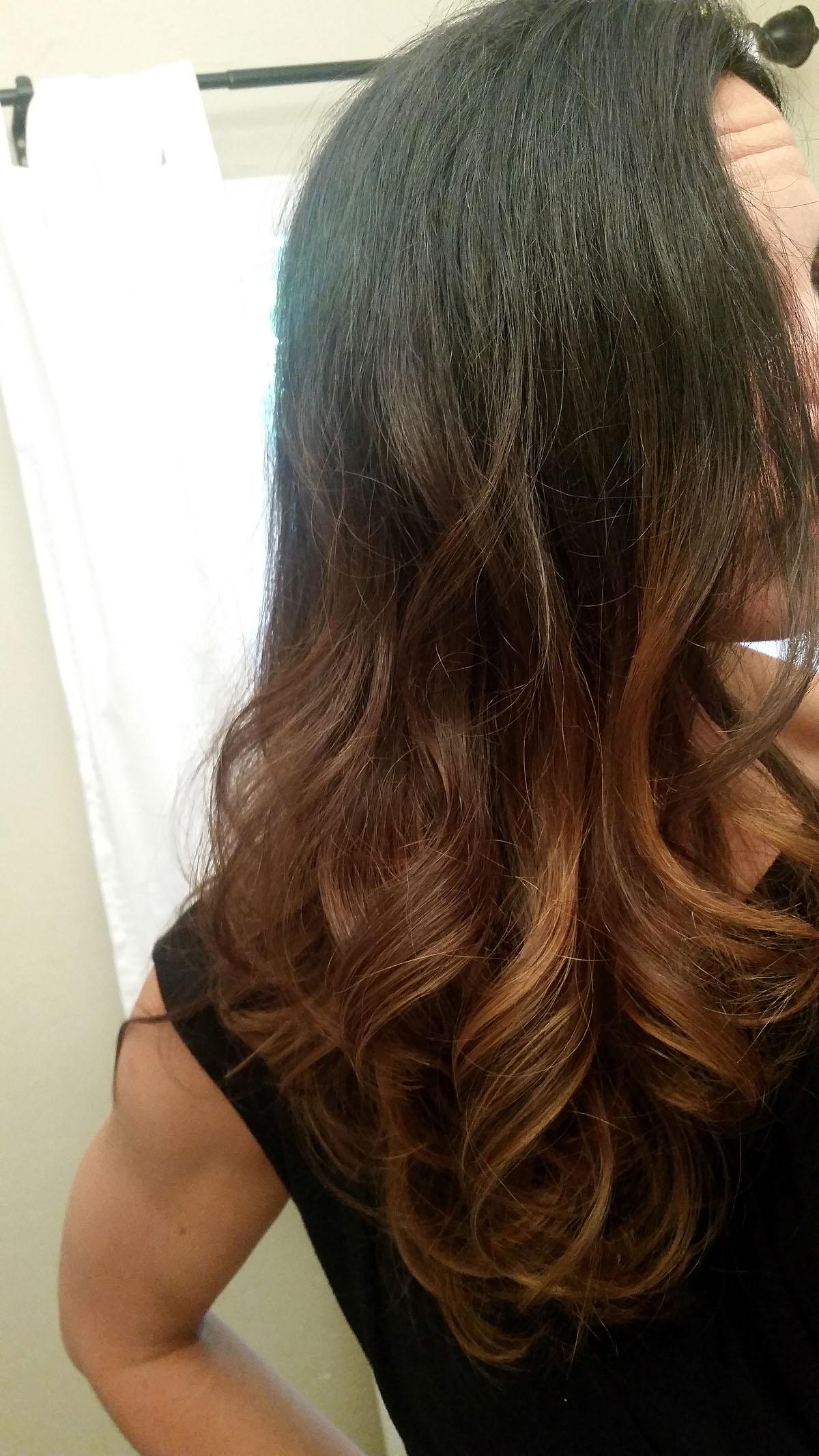 Long Ombre Hair - Black to Caramel